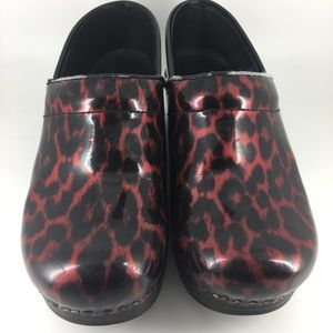 Dansko Black and Red Leopard Nursing Clogs